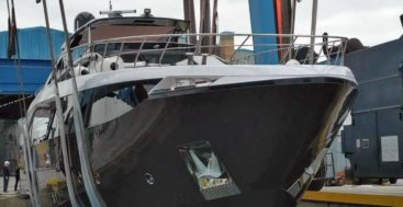 Amer Cento hull 15 launched on May 24 from the megayacht builder Amer Yachts