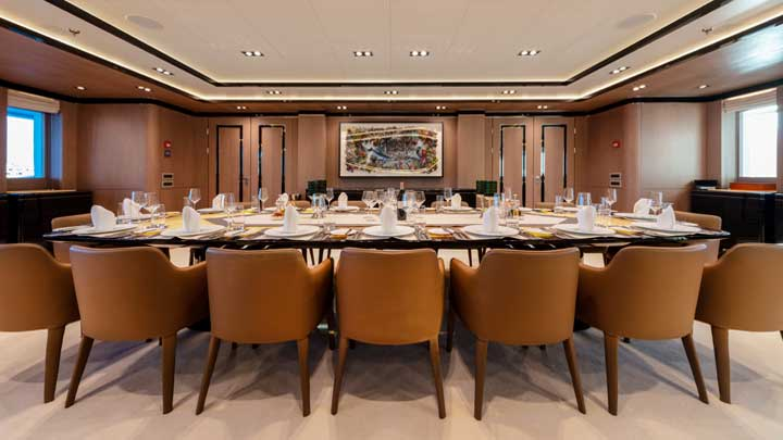 Golden Yachts built the megayacht O'Ptasia; this is the dining room
