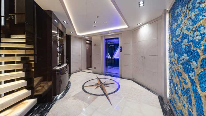 Golden Yachts built the megayacht O'Ptasia; this is the elevator foyer
