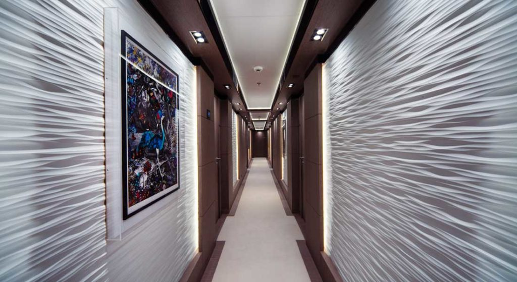 Golden Yachts built the megayacht O'Ptasia; this is the interior design