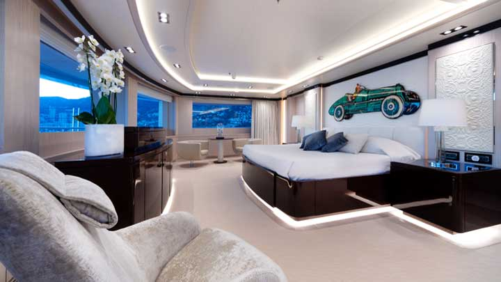 Golden Yachts built the megayacht O'Ptasia; this is the master suite
