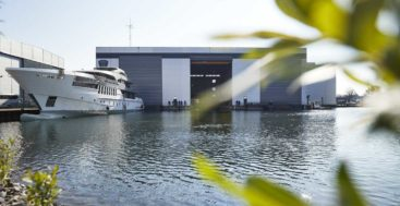 the megayacht Project Pollux saw her hull and superstructure join in May 2019