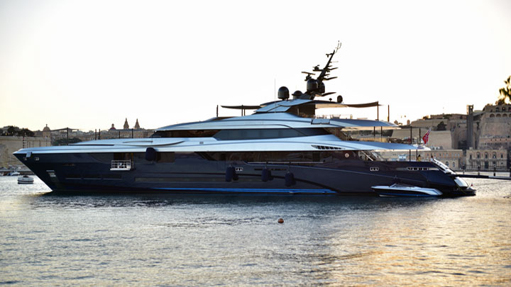 the superyacht Sarastar is among the megayachts at the Monaco Grand Prix in 2019