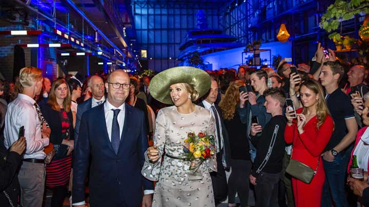 Queen Maxima of The Netherlands attended the grand opening of the new superyacht yard Feadship Amsterdam