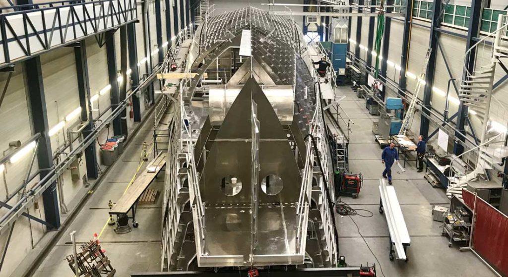 the hull of the megayacht Project Phi at Royal Huisman