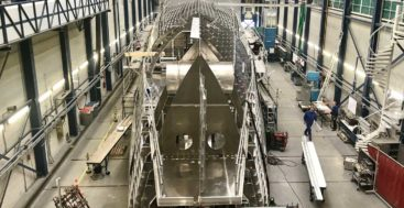 the hull of the megayacht Project Phi at Royal Huisman