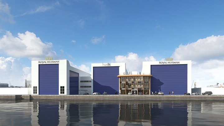 the future appearance of the Royal Huisman shipyard in Amsterdam, leased by the Port of Amsterdam