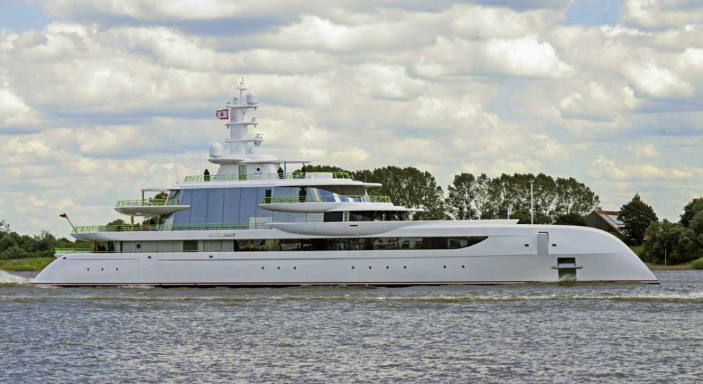 the new Excellence megayacht on sea trials