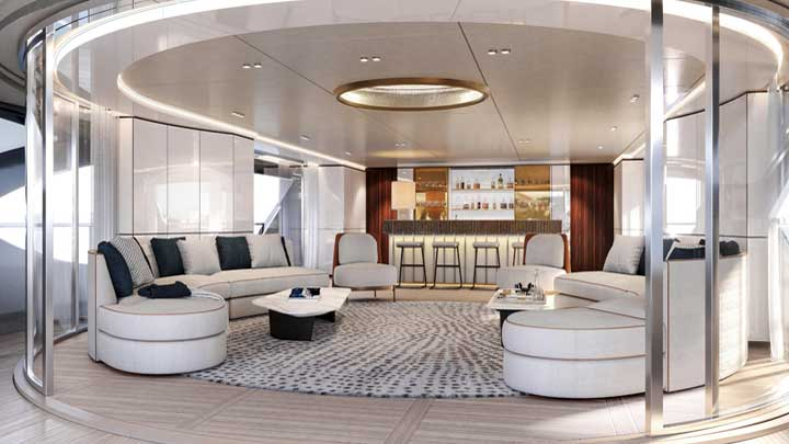 the main saloon with a bar aboard the Benetti Oasis 40M megayacht