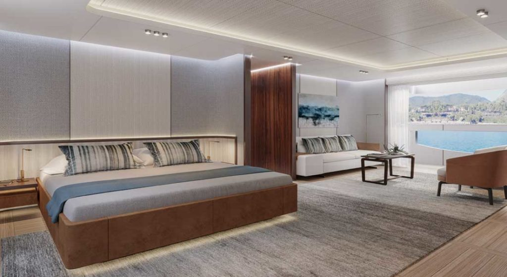 teak characterizes the owner's suite aboard the Benetti Oasis 40M megayacht
