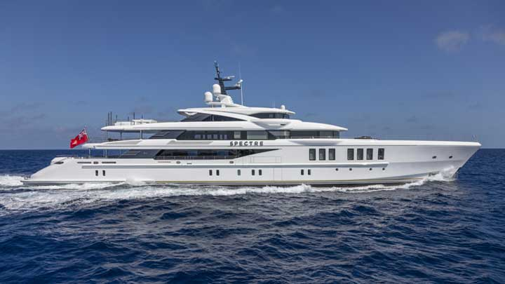 the superyacht Spectre is quite a lavish design, with Art Deco elements in every room