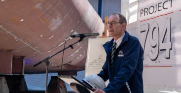 the keel laying for the confidential megayacht Nobiskrug Project 794