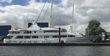 Broadwater is the megayacht launched as Rasselas and is being refitted by Huisfit