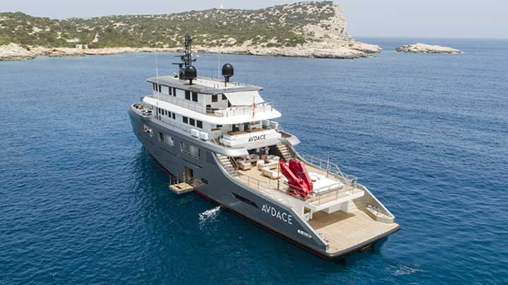 the megayacht Audace is among the yachts to see in Cannes at the Cannes Yachting Festival
