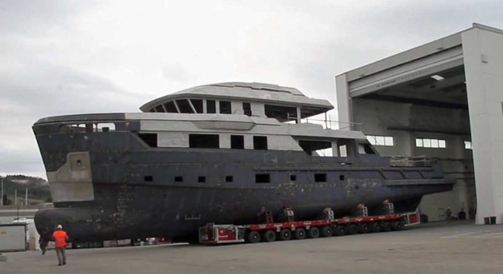 CdM Flexplorer megayacht moving into the outfitting shed
