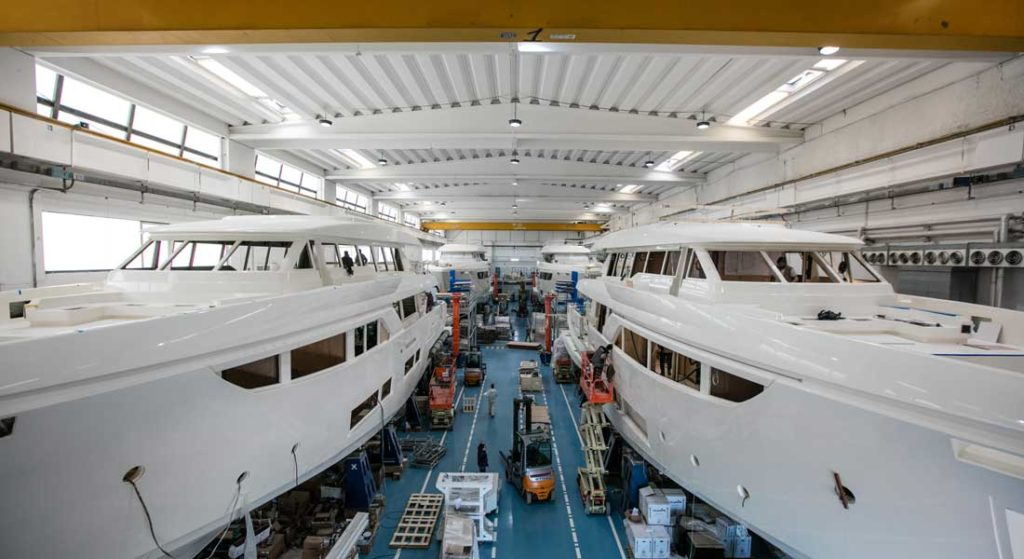 the Custom Line megayachts occupiy several build sheds in Italy