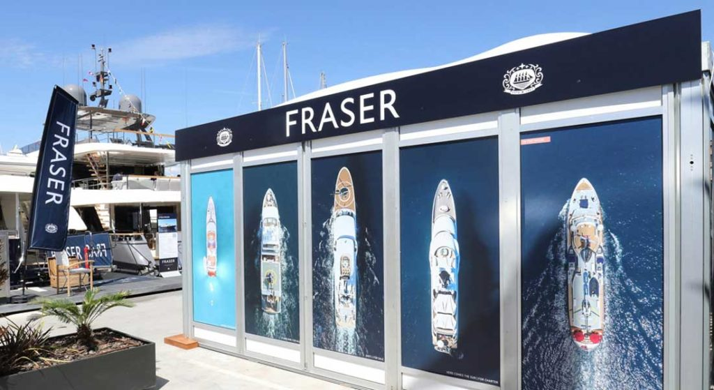 Fraser Yachts display at the Superyacht Show 2019