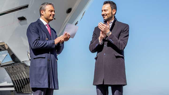 Giuseppe Palumbo and Francesco Carbone of Palumbo Superyachts Ancona at the launch of Columbus Yachts' Dragon