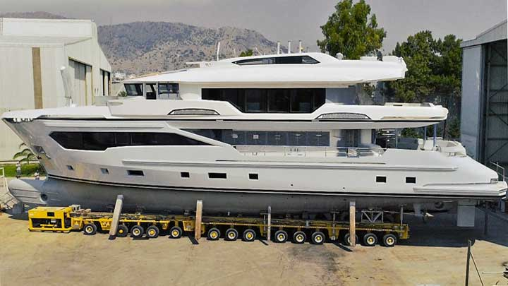 the first hull of the Kando 110 megayacht series launched in June 2019