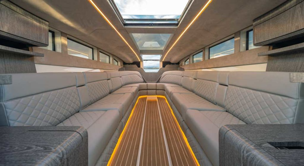 the luxurious interior of the superyacht tender Onda 321L