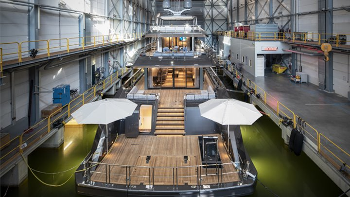 the megayacht Erica, also known as Project Boreas, was built by Heesen Yachts and has two treadmills on the swim platform