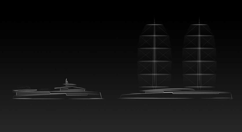 Project Lotus is a pair of concept superyachts, a sailing yacht and a shadow vessel