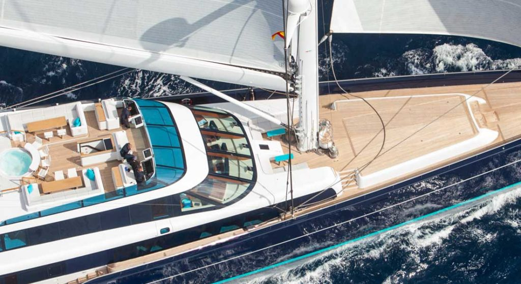 the superyacht Aquijo is sailing the remote South Atlantic this year