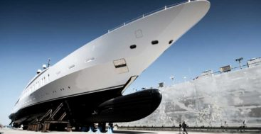 the megayacht, a.k.a. giga yacht, Benetti FB275 at launch; Nick Bischoff says Benetti is a better builder as a result