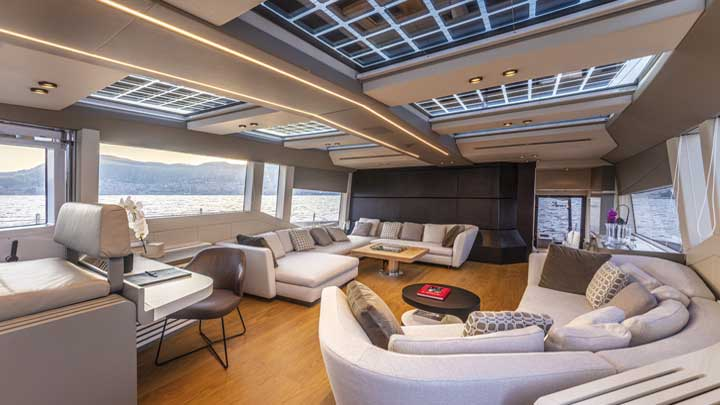 the Extra 86 Fast megayacht has solar panels and an open main deck