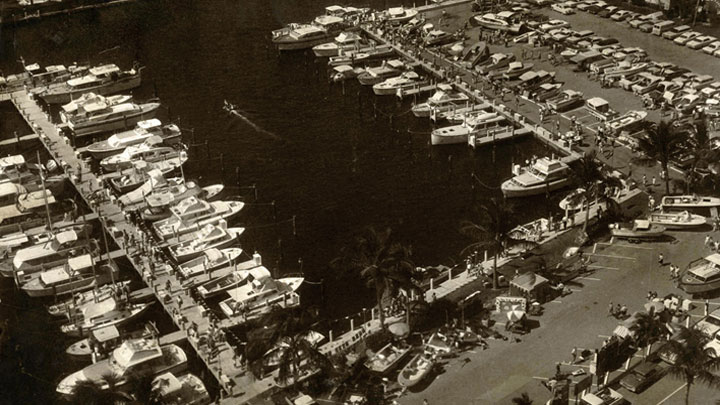 fun facts about FLIBS; this photo is from 1963, before megayachts became a big attraction there