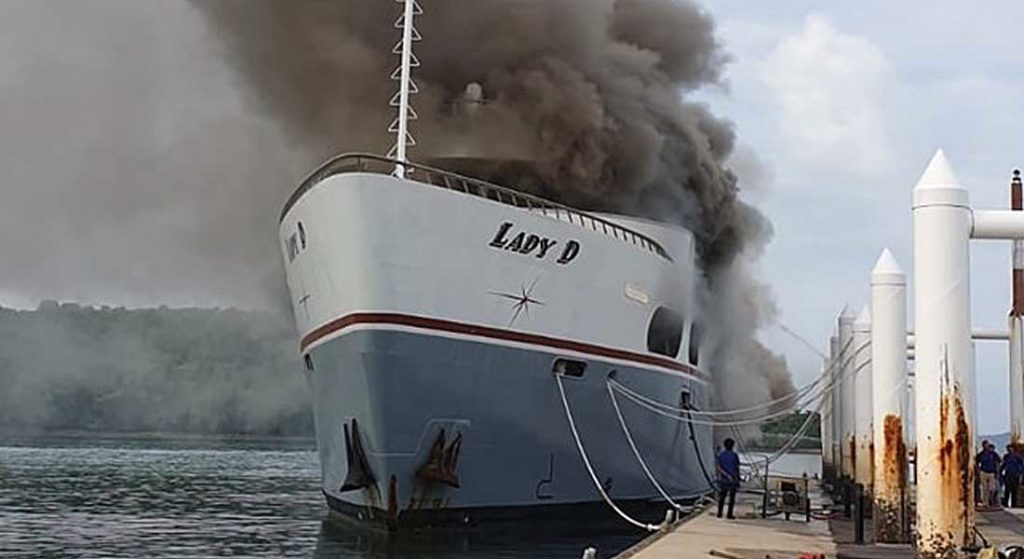 the megayacht Lady D caught fire in Thailand