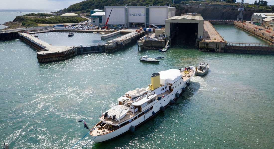 the megayacht Marala arrives at Pendennis for a restoration