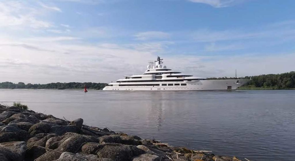 the Lurssen superyacht Project Lightning is seen on sea trials