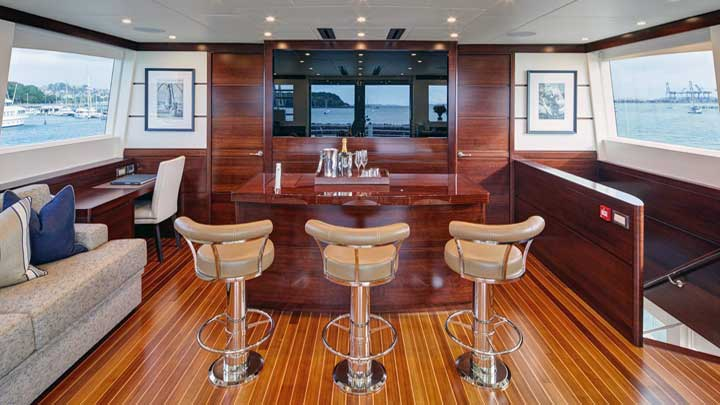 belly up to the bar aboard the superyacht sportfisherman Lanakai