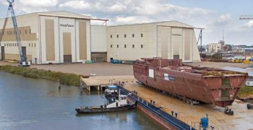 the hull of the latest 109-meter Oceanco megayacht arrives at the yard