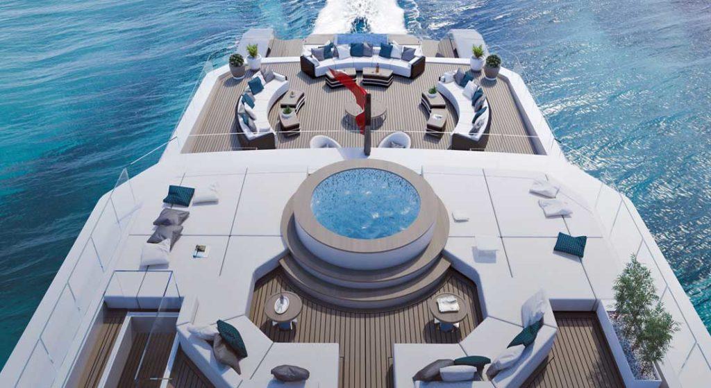 RMK 65 megayacht aerial view of decks