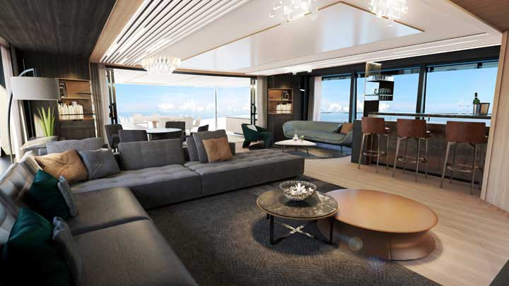 superyacht sophistication characterizes the Sunseeker 161 Yacht skylounge