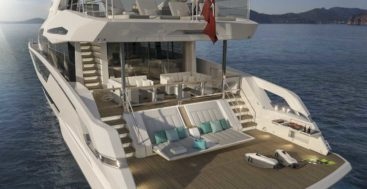 the Sunseeker 87 Yacht is a megayacht model with convertible sunbeds aft