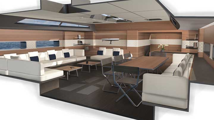the sailing superyacht Wally 101 offers a flexible interior arrangement