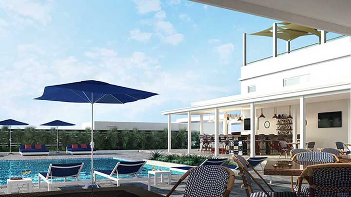 Navy Beach St. Maarten offers poolside views in addition to megayacht views