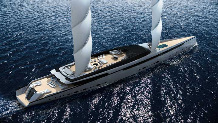 Lotus is a two superyacht package from Royal Huisman, with a DynaRig for the sailing yacht