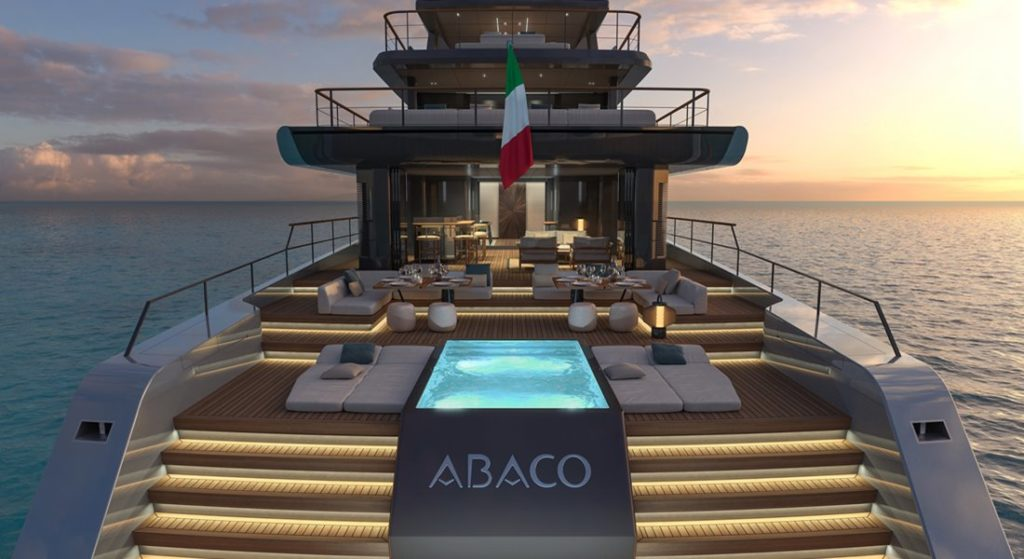 the Baglietto Abaco concept megayacht design will see funds donated to the Bahamas