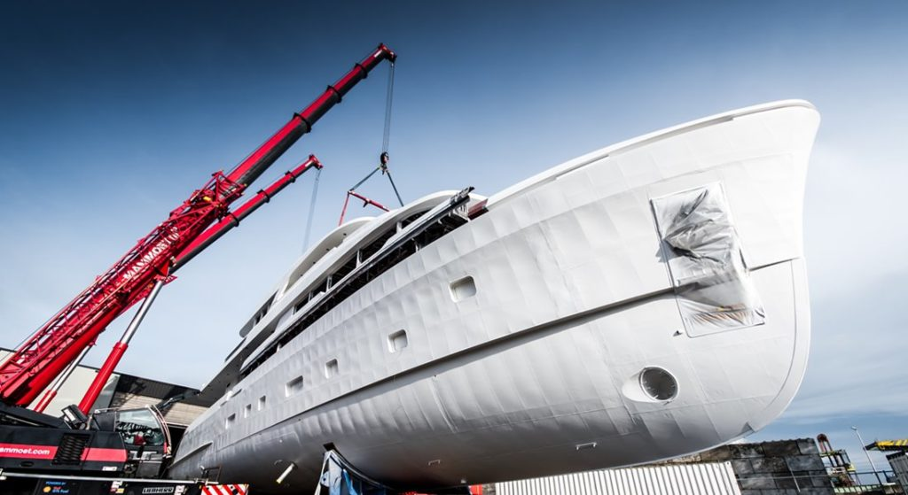 the joining of the Moonen YN199 megayacht hull and superstructure