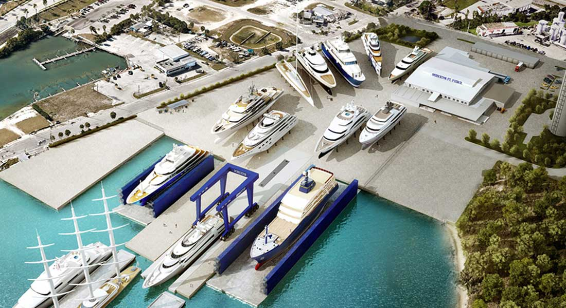 Derecktor Ft. Pierce mobile boat hoist; it will be the largest megayacht hoist in the world