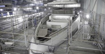 the Majesty 120 megayacht saw her hull and superstructure join in December 2019