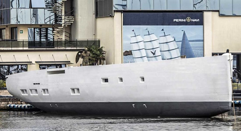 the first GTS version of the Perini Navi 42M E-volution sailing superyacht hull is complete