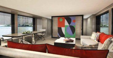 the Sanlorenzo SL96 Asymmetric megayacht has interior design by Laura Sessa