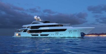 the Westport 52M, aka Westport 172, is a new megayacht model with a beach club