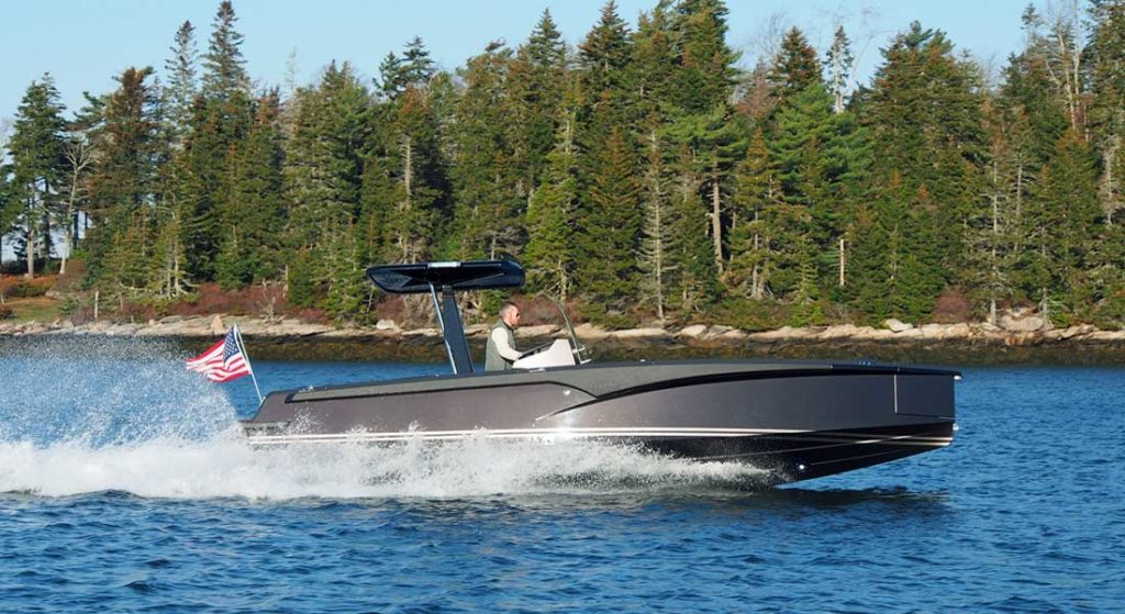 hull number one of the Hodgdon Tenders Crossover series, an 8-meter boat