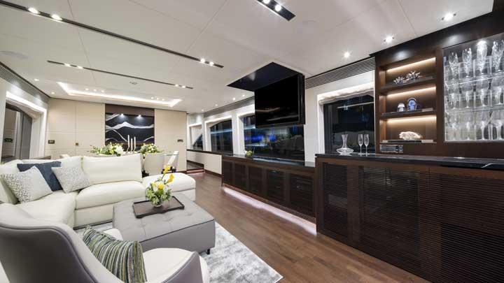 hull number one of the Horizon RP100 megayacht series features wenge wood inside